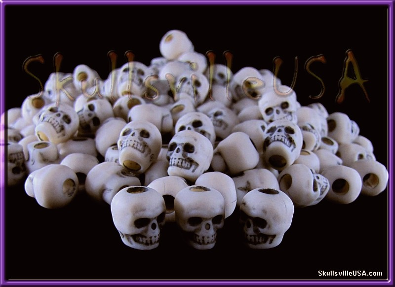 ivory ghost acrylic skull beads