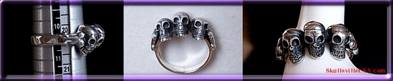3 skulls sterling sliver ring