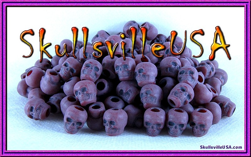 creepy cranberry acrylic skull beads