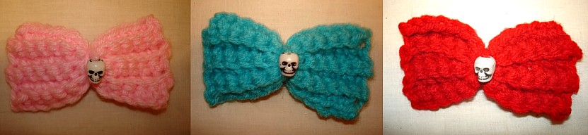 crochet hair bow with skull bead