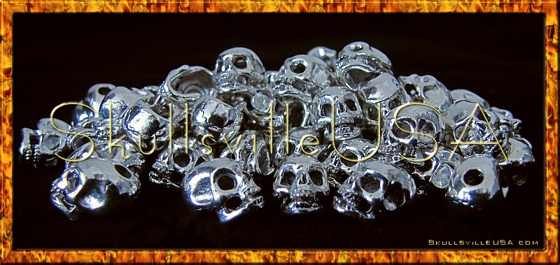 fierce silver plated skull beads top hole