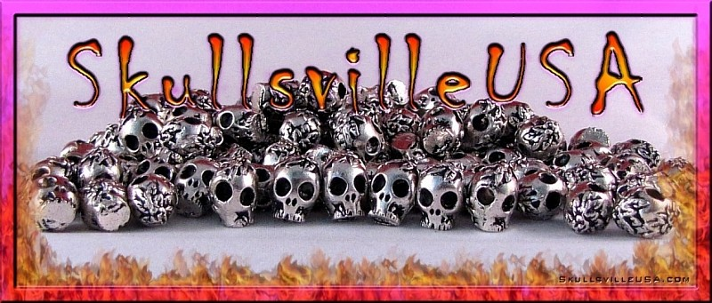 flowered pewter skull beads