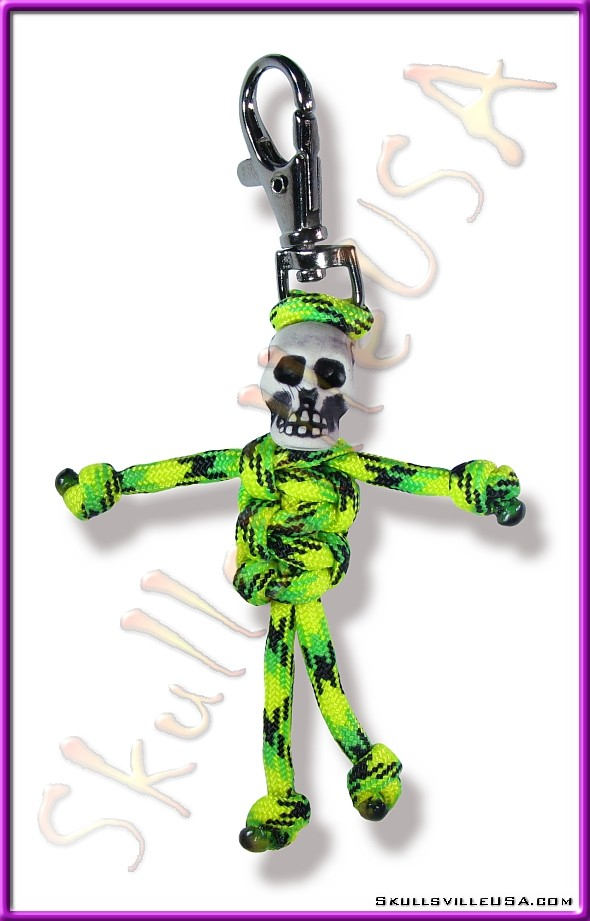 green paracord parabuddy key chain or zipper pull