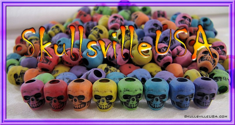 haunted rainbow acrylic skull beads