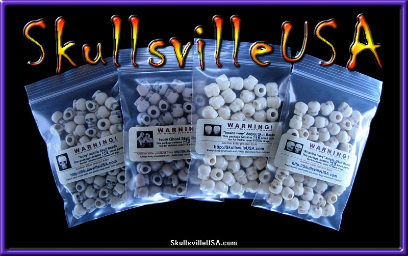 ivory skull bead assortment special
