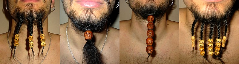 wood and bone skull beads on braided beard