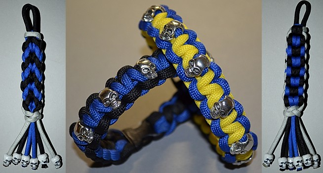 skull bead paracord bracelets and key chains