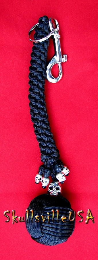 monkeyfist paracord keychain with skull beads