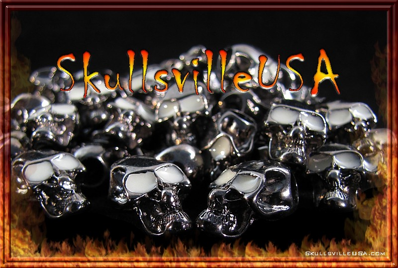 night stalker top hole skull beads gun metal
