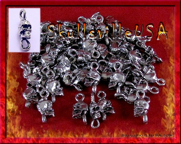 pewter skull charm connectors