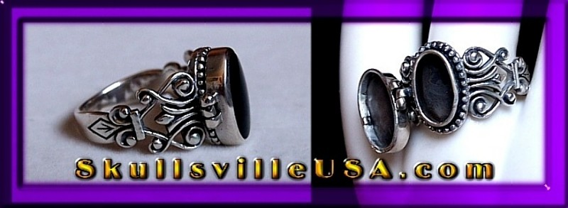 sterling silver and onyx pill box ring