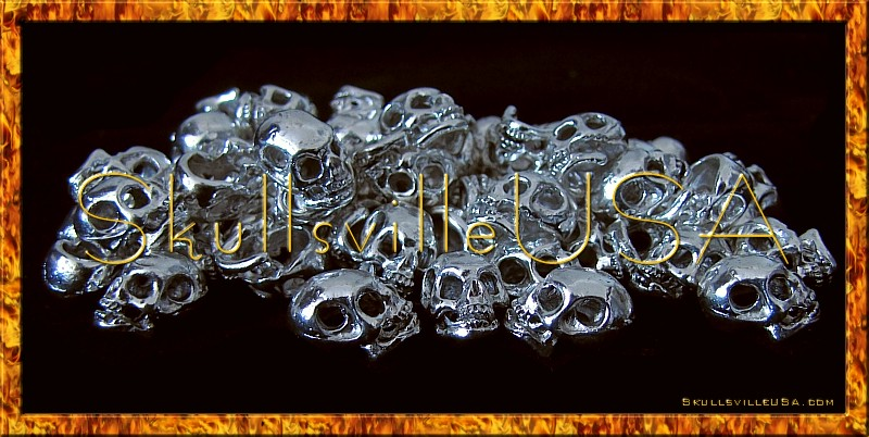 savage silver plated skull beads side hole