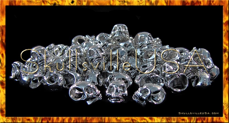sinister silver plated skull beads side hole