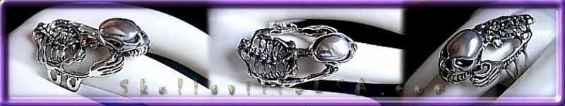 skeleton rider sterling silver ring