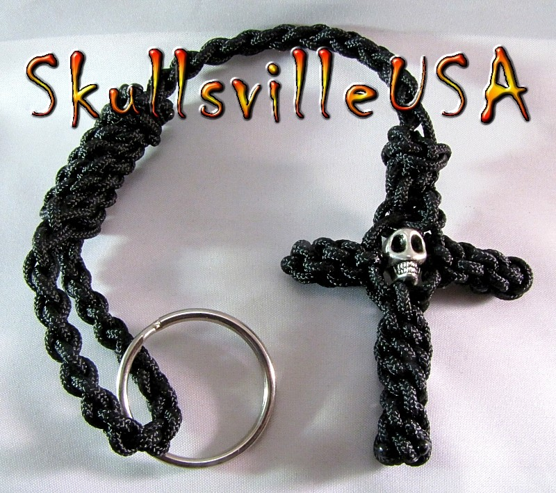 skull bead paracord cross key chain