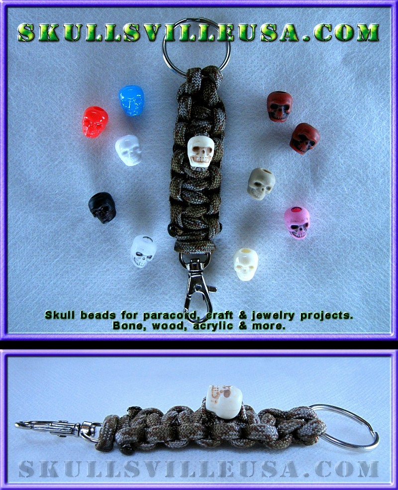 skull bead paracord key chain