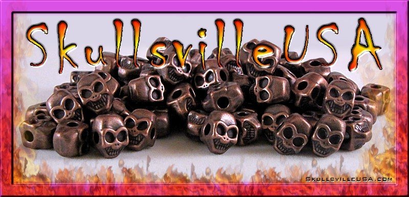 smiley copper plated pewter skull beads