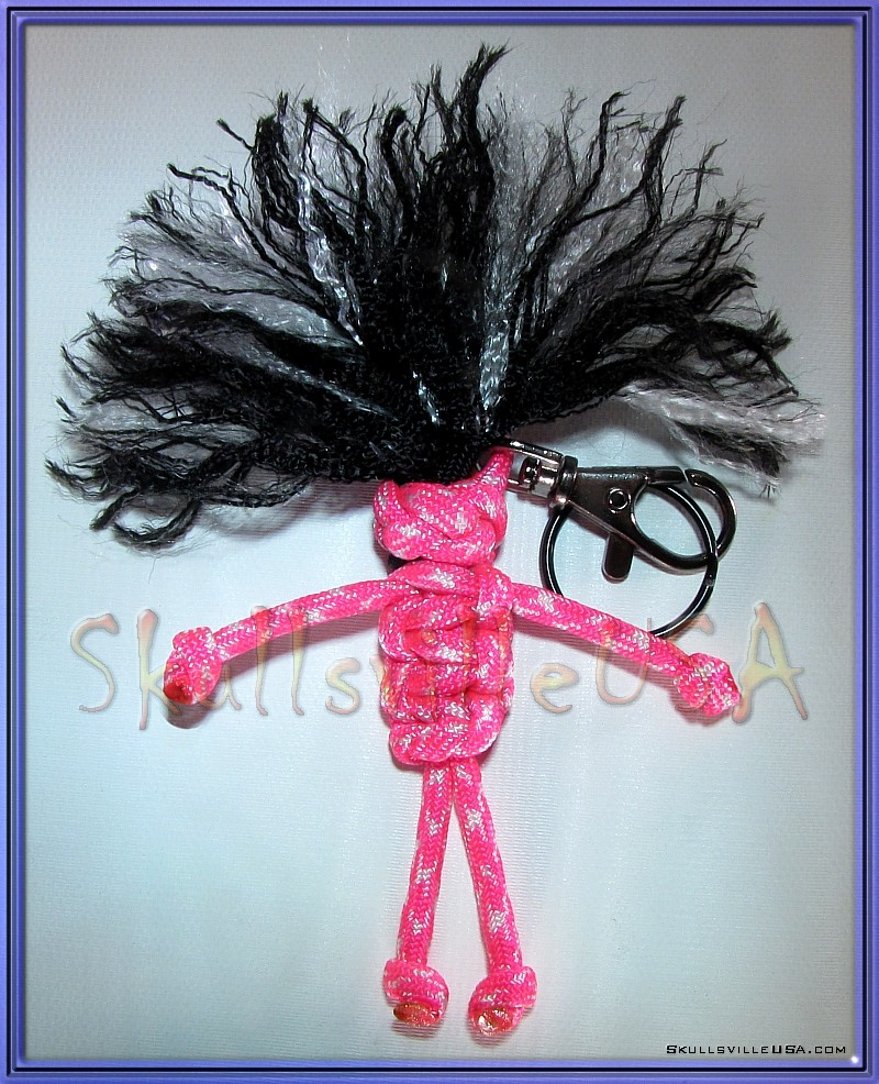 pink paracord voodoo doll key chain
