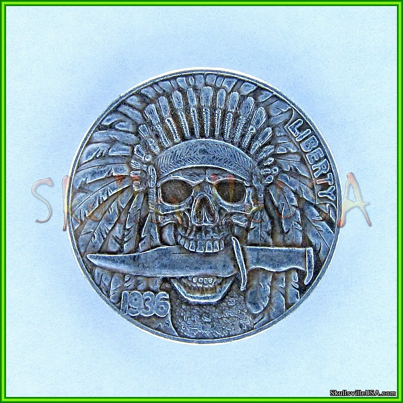1936 hobo buffalo nickel - 3 legged skeleton buffalo and indian with knife