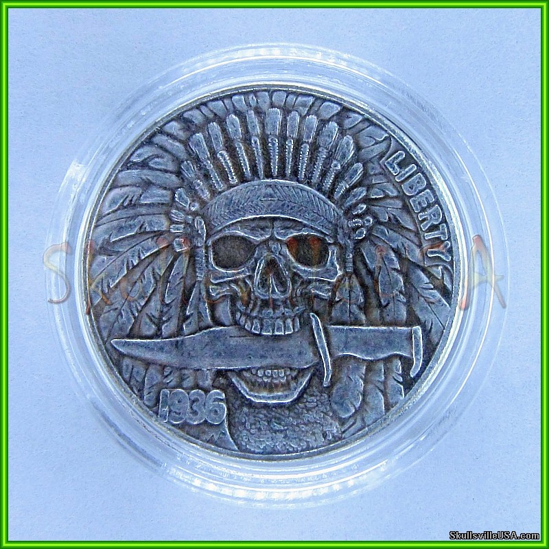 1936 hobo buffalo nickel with indian head case