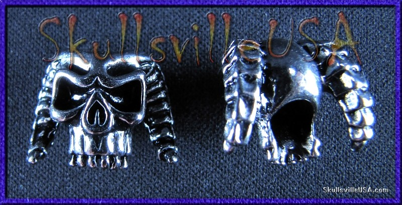 horned demon skull beads