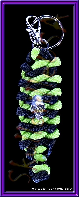 monkey skull paracord key ring