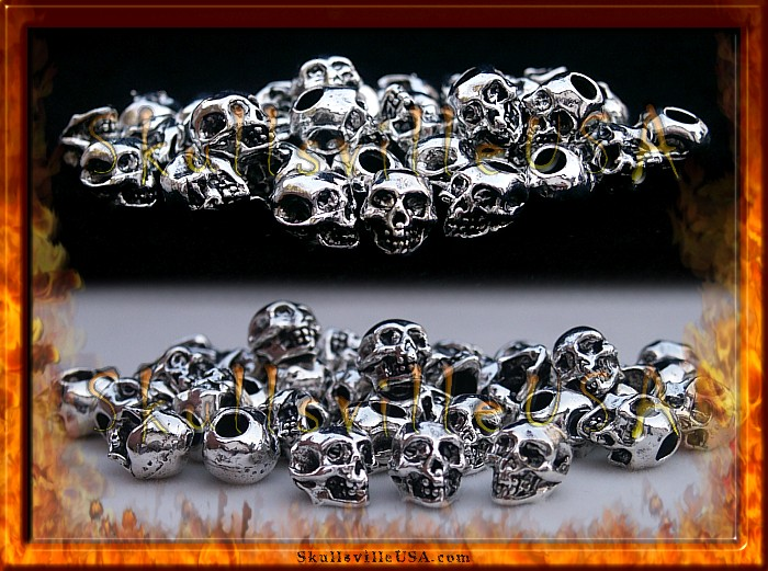 silver plated pewter skull beads