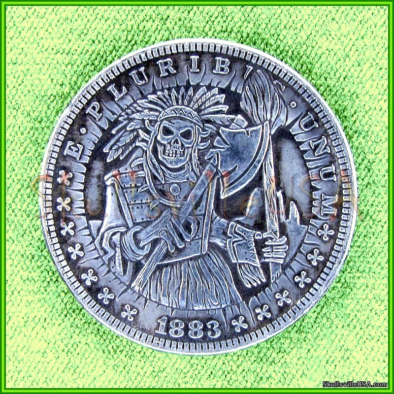 1883 morgan dollar indian warrior skeleton