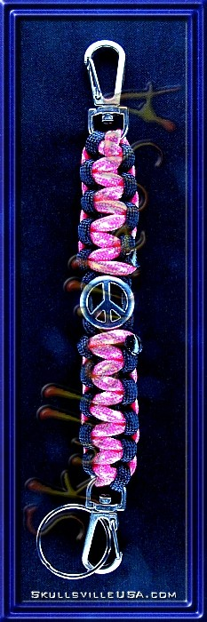 peace slider paracord key chain