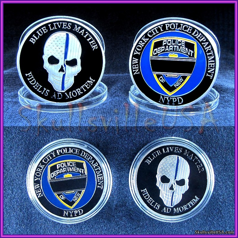 blue lives matter nypd challenge coin in case