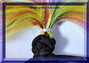 paracord voodoo doll with brushed hair closeup
