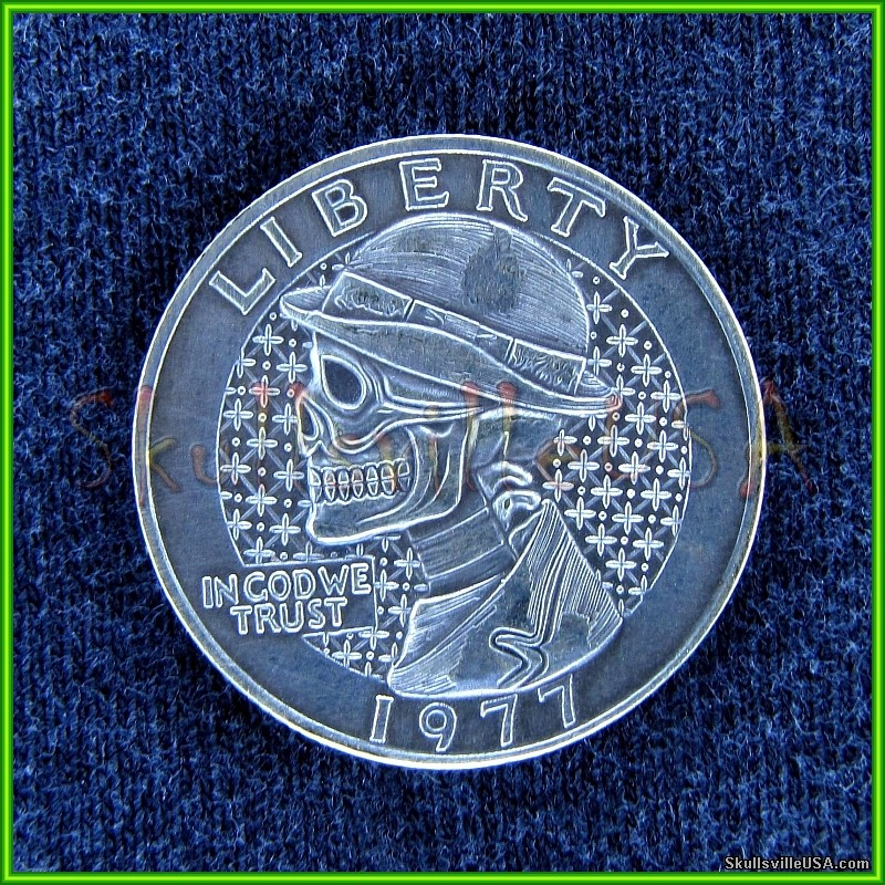 1977 hobo washington skull quarter