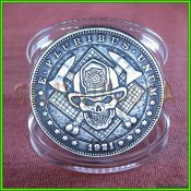 fireman skull hobo morgan dollar - case